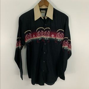 Vintage Aztec Style Pearl Snap Button Down Shirt